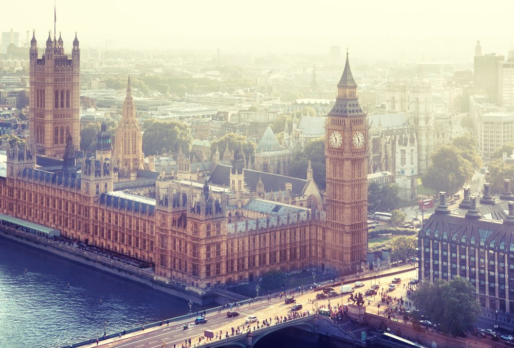 ESB Professional by Shutterstock, Treasury summit in London and Big Ben pictured from the sky,