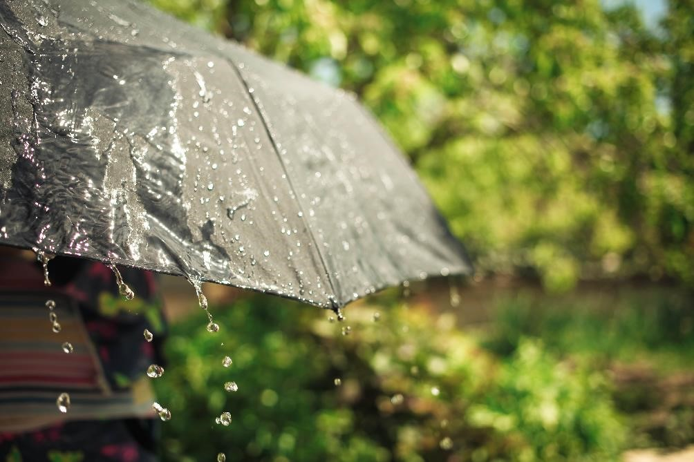Iryna Tiumentseva by Shutterstock cash forecasting, sun shining and rain drops on umbrella