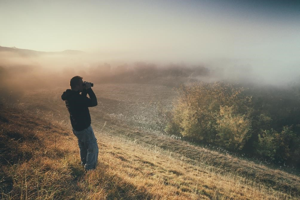 Mladen Mitrinovic by Shutterstock.jpg fraud detection, man with binoculars looking over a misty field