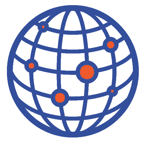 a multinational globe, spots connecting the globe